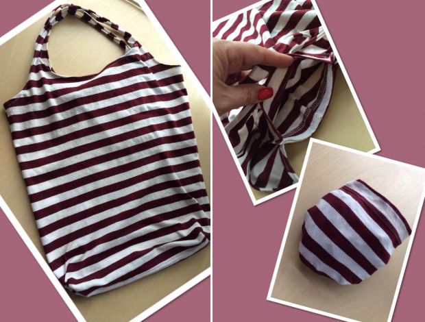 100% cotton burgundy white striped shopping bag