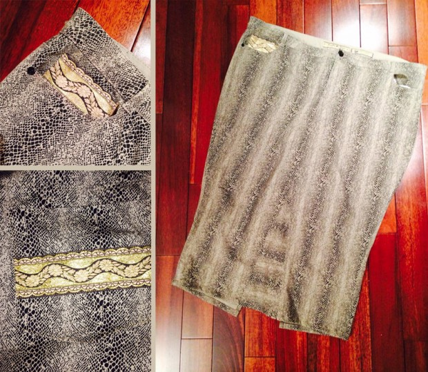 Snakeskin Print Cotton Pencil Skirt - After
